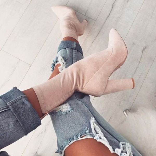 shoes pink boots heels suede stone