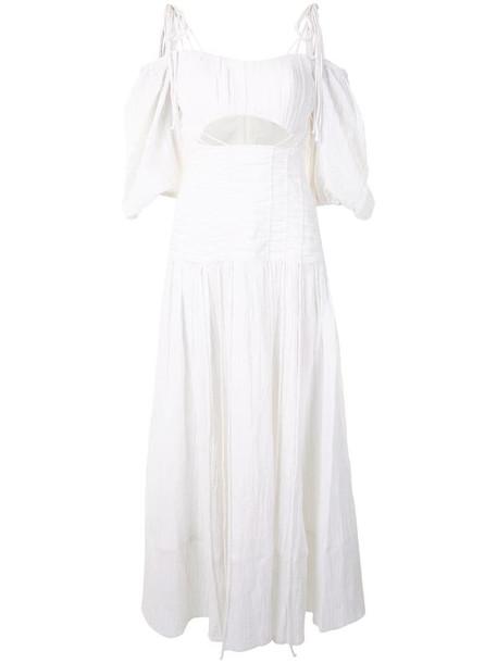 Rachel Gilbert Sorrell balloon-sleeved crinkle maxi dress in white