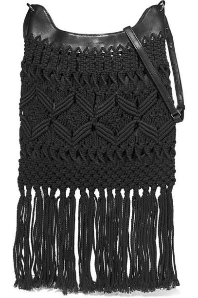 Isabel Marant - Teomia Leather-trimmed Fringed Macramé Shoulder Bag - Black