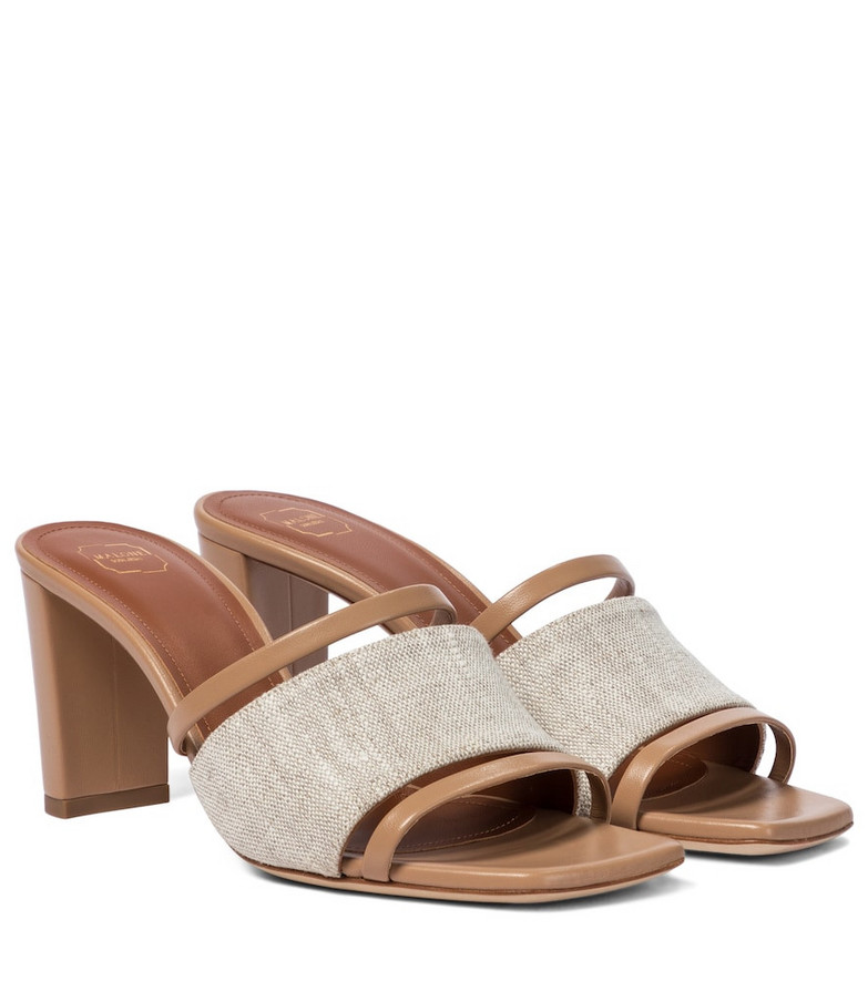 Malone Souliers Demi 70 linen and leather sandals in beige