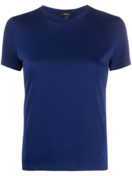 Theory plain fitted T-shirt in blue