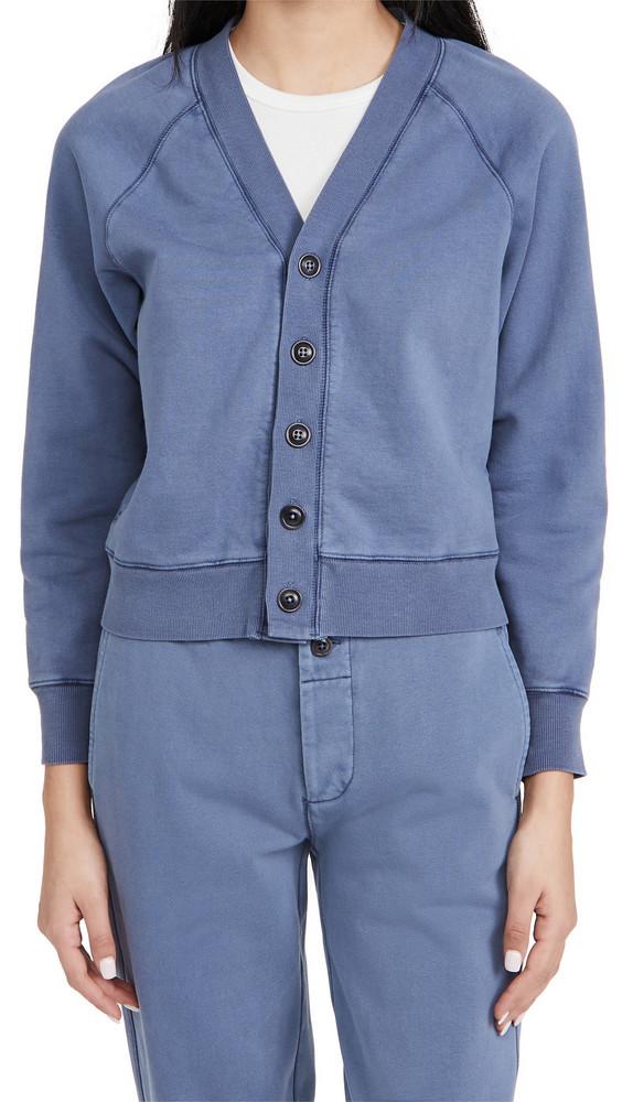 Alex Mill Davie Fleece Cardigan in blue