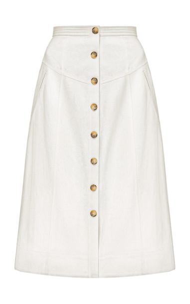 Anna October Nadenka High-Rise Cotton Skirt in white