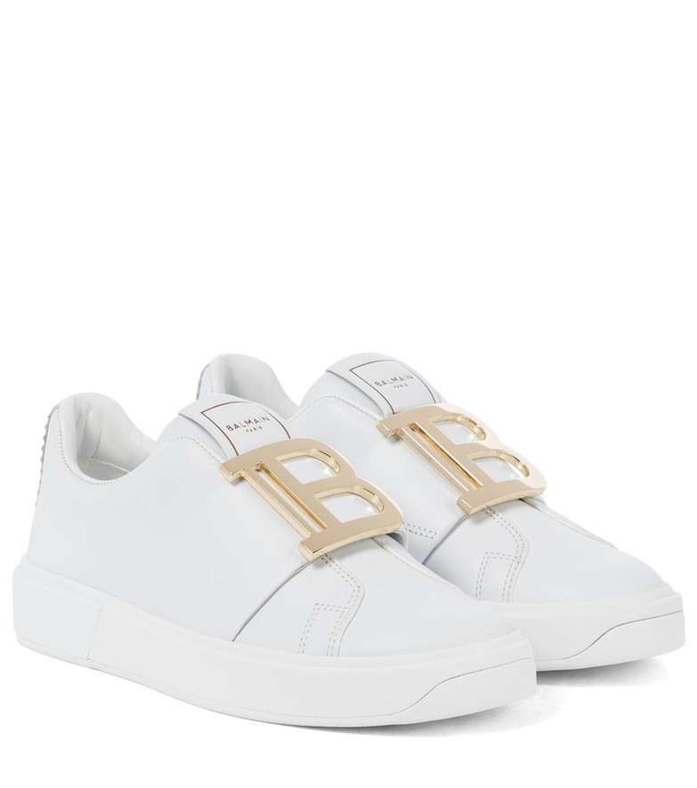 Balmain B Court leather sneakers in white