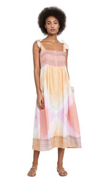 Juliet Dunn Tie Dye Shoulder Cover Up Dress in copper / pink