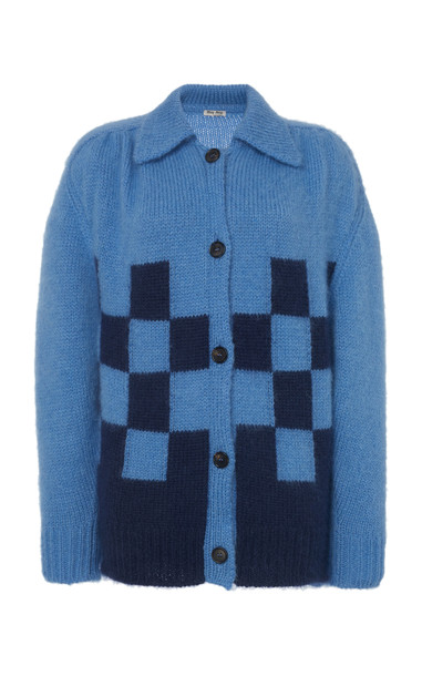 Miu Miu Checked Cardigan in blue