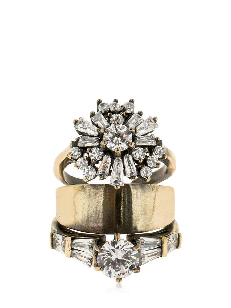 IOSSELLIANI Stacked Ring W/ Zircon in gold