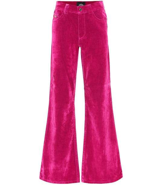 Marc Jacobs High-rise flared velveteen jeans in pink