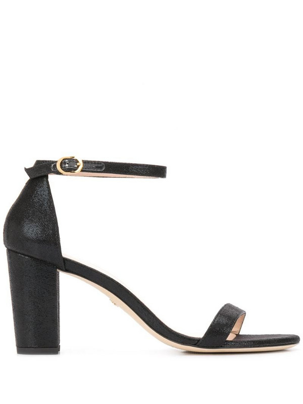 Stuart Weitzman The NearlyNude velvet 80mm sandals in black