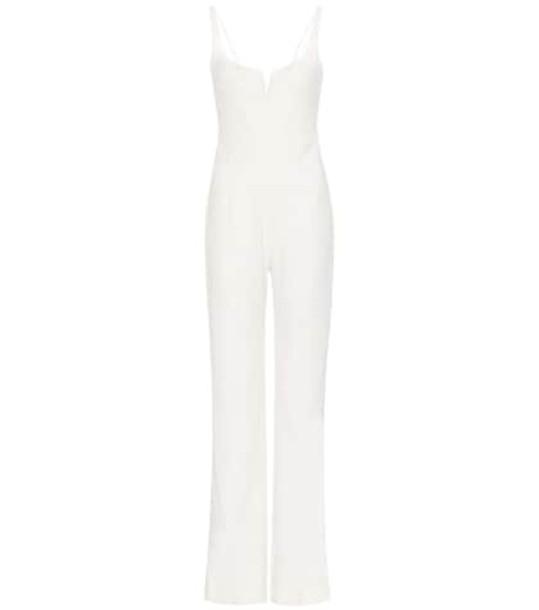 Galvan Signature Corset crêpe jumpsuit in white