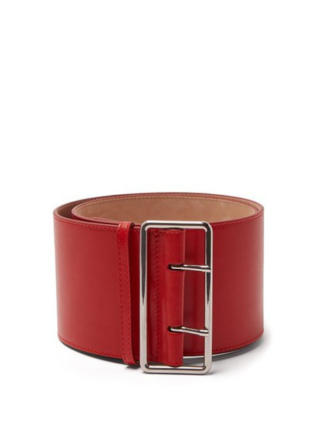Alexander Mcqueen - Military Wide Leather Belt - Womens - Red