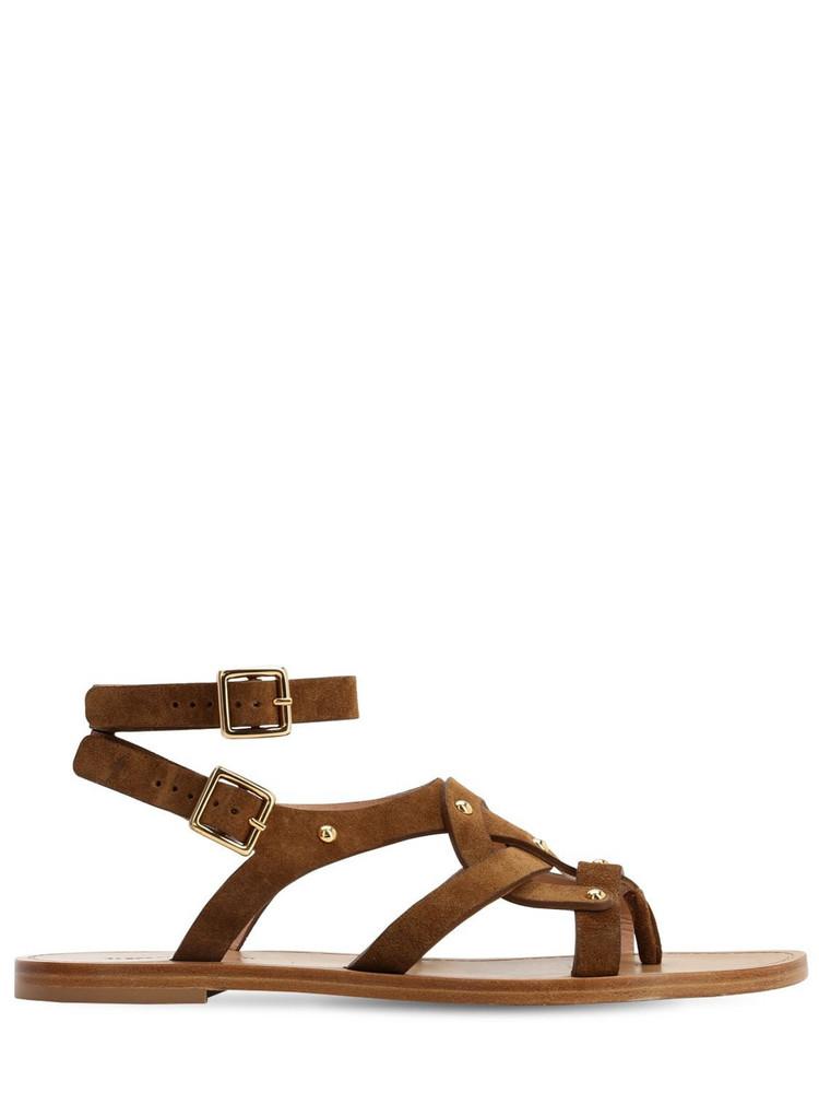 ALBERTA FERRETTI 10mm Suede Flat Sandals in brown