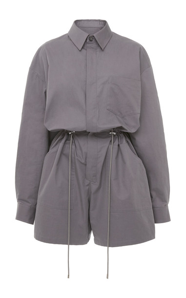 Maison Margiela Tie-Detailed Cotton Playsuit in grey