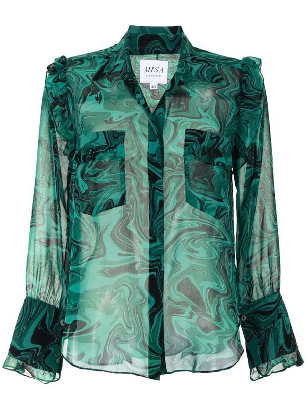 Misa Los Angeles Anita marble print shirt in green