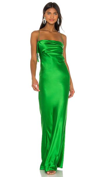 Michelle Mason Ruffle Cowl Bias Gown in Green