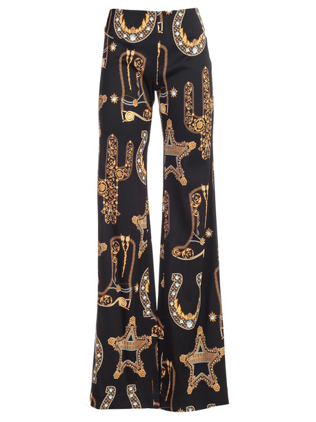 Versace Collection Pants Wide Leg Baroque Printing in nero