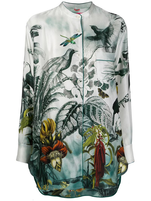 F.R.S For Restless Sleepers silk tropical-print blouse in green