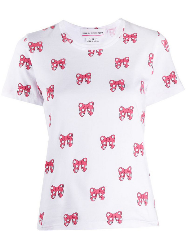 Comme Des Garçons Girl bow motif printed T-shirt in white