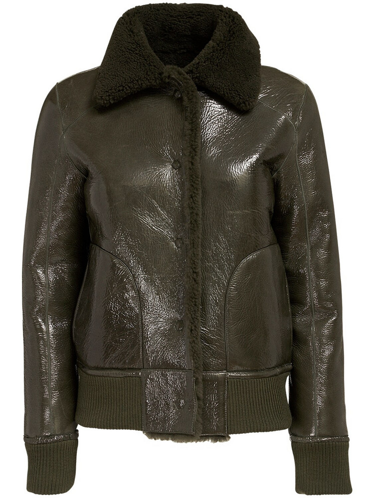 REMAIN Perla Shearling & Leather Crop Jacket in brown