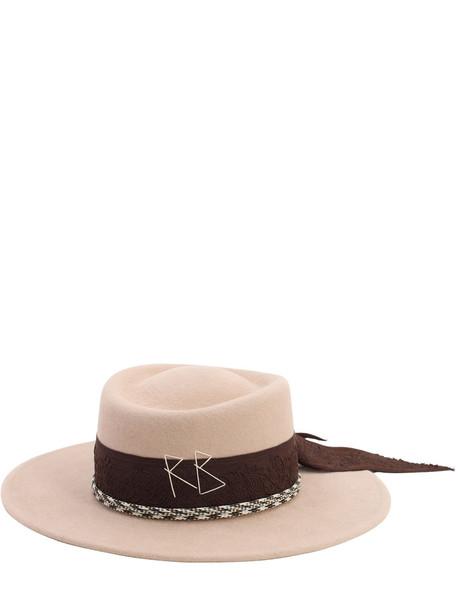 RUSLAN BAGINSKIY Felted Wool Hat in beige
