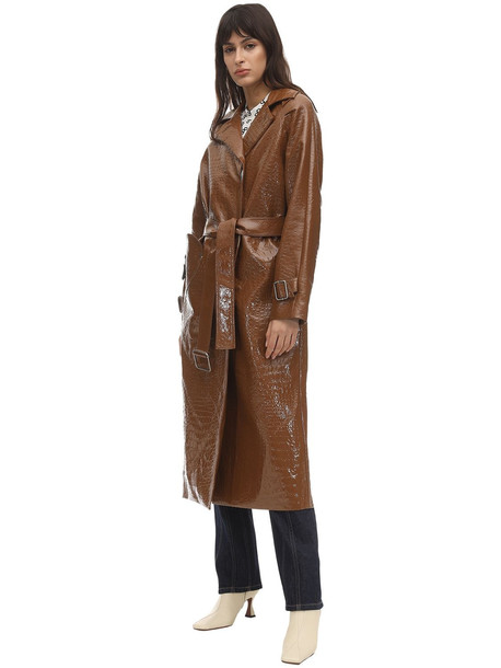 SAKS POTTS Croc Faux Patent Leather Trench Coat in brown