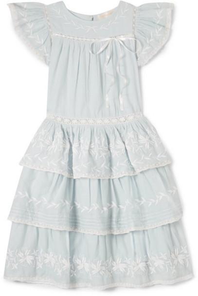 LoveShackFancy Kids - Callie Tiered Embroidered Cotton-voile Dress - Blue