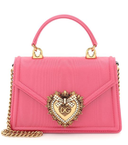 Dolce & Gabbana Devotion Small moire shoulder bag in pink