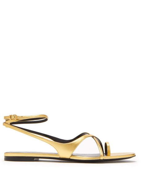 Saint Laurent - Gia Gold Leather Sandals - Womens - Gold