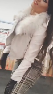 coat,white leather jacket with  white fur collar