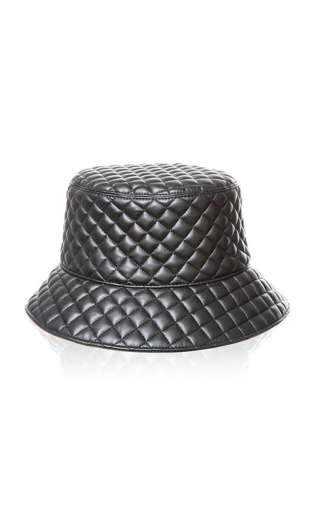 Eric Javits Quilty Quilted-Leather Bucket Hat in black