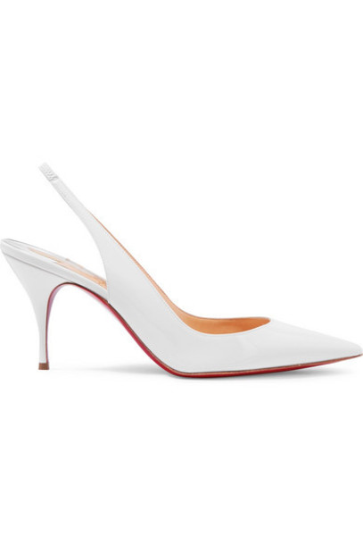 Christian Louboutin - Clare 80 Patent-leather Slingback Pumps - White