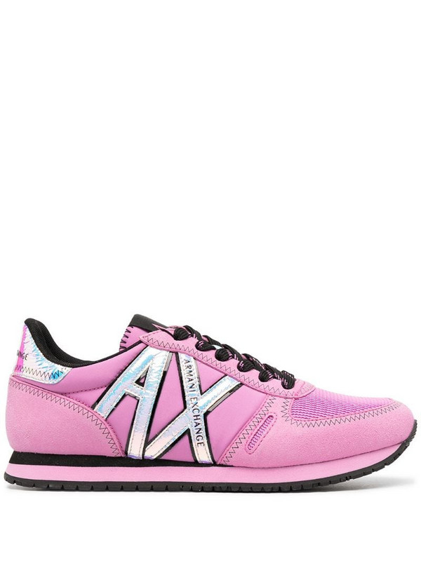 Armani Exchange side-logo lace-up sneakers in pink