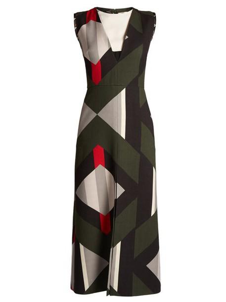 Fendi - Lozenges Print Cut Out Front Wool Blend Dress - Womens - Black Multi