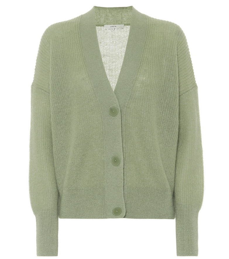 Vince Ribbed-knit cardigan in green