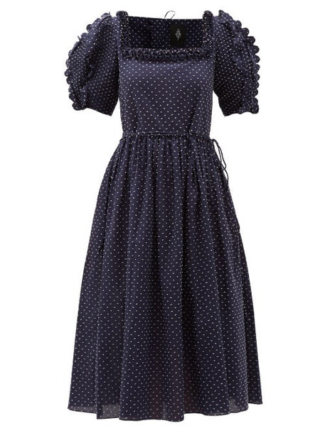 Horror Vacui - Laura Scalloped Swiss-dot Cotton Midi Dress - Womens - Navy