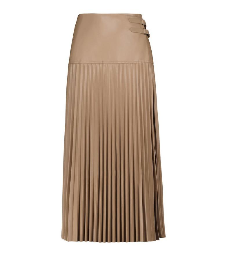 Jonathan Simkhai Leona pleated faux leather midi skirt in beige