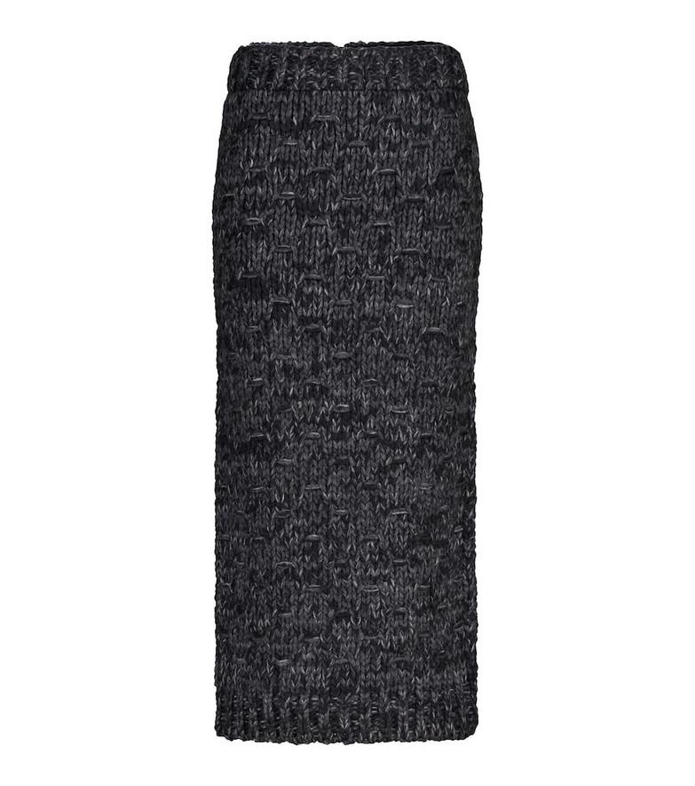 Dolce & Gabbana Wool-blend midi skirt in black