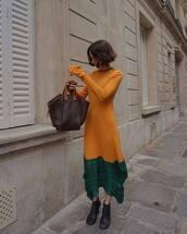 bag,brown bag,maxi dress,loewe bag,loewe,long sleeve dress,black boots,ankle boots