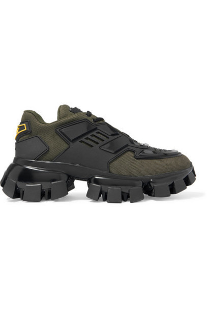 Prada - Thunder Mesh And Rubber Sneakers - Army green