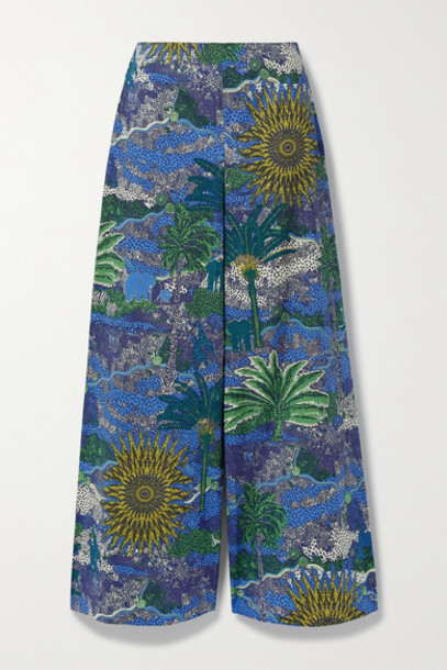 Le Sirenuse Positano - Natalie Printed Cotton-poplin Wide-leg Pants - Blue