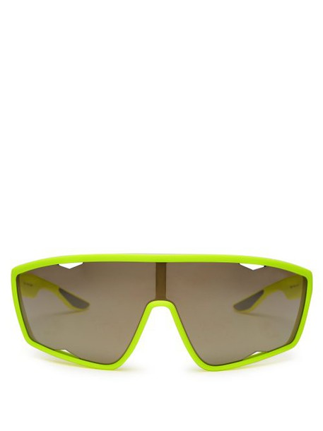 Prada Eyewear - Linea Rossa Angular Sunglasses - Womens - Yellow