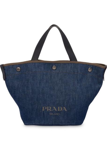 Prada logo tote bag in blue