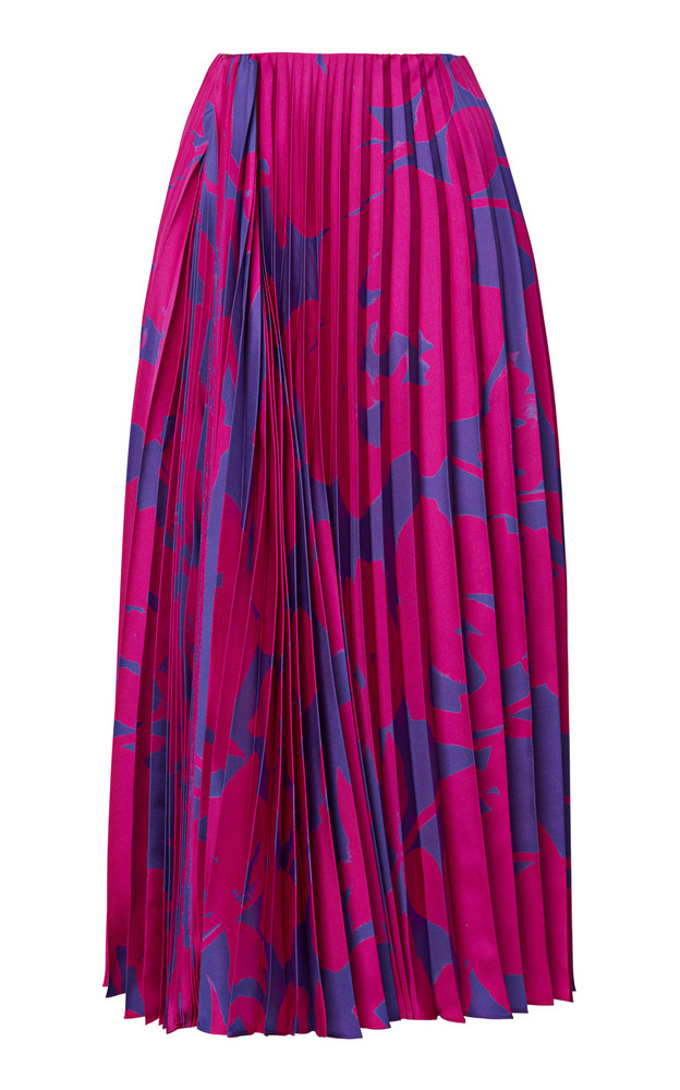 Valentino Pleated Floral Silk Midi Skirt in pink