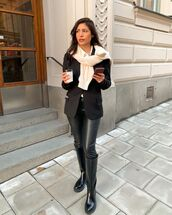 pants,black leather pants,black boots,knee high boots,black blazer,white shirt