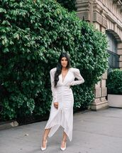 dress,white dress,midi dress,long sleeve dress,plunge v neck,pumps