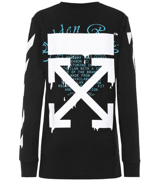 Off-White Printed cotton-jersey shirt in black