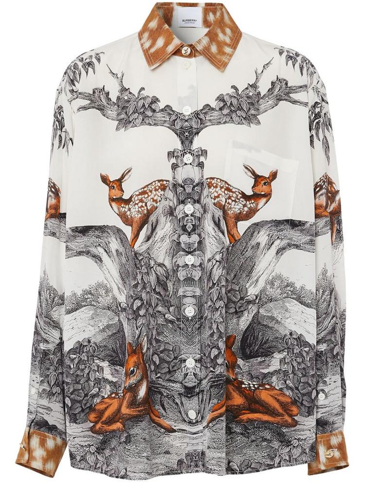 BURBERRY Carlota Deer Print Silk Twill Shirt