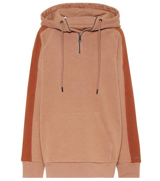 Reebok x Victoria Beckham Cotton-jersey hoodie in brown