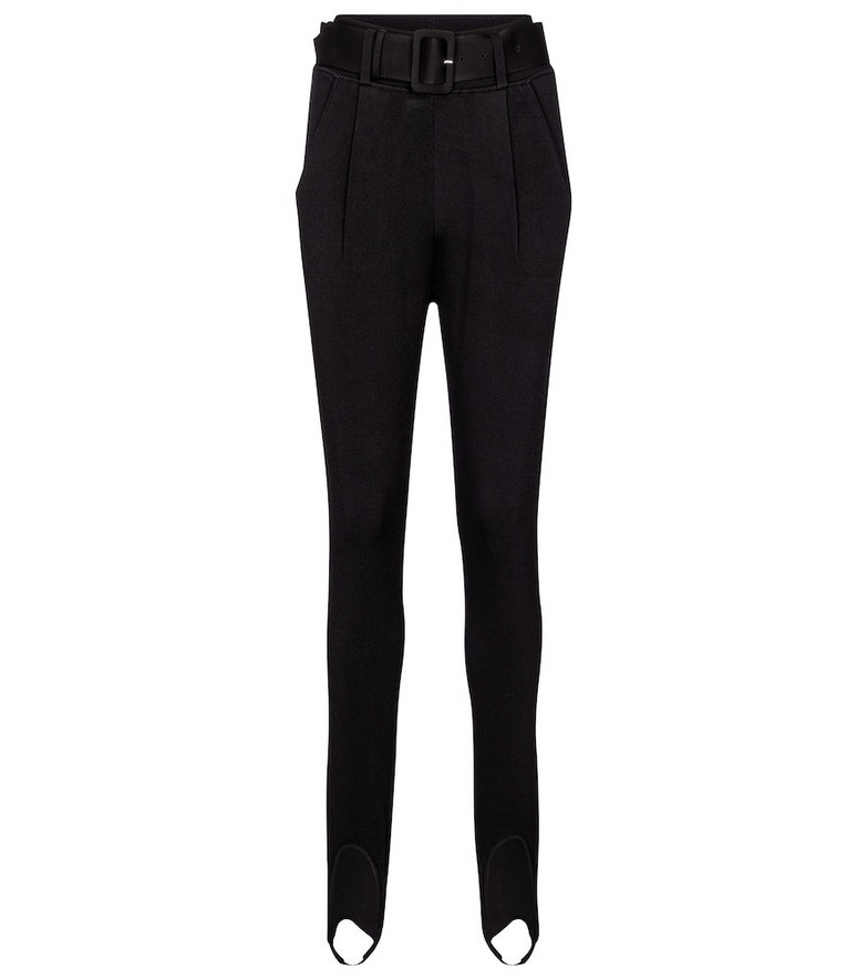 Self-Portrait Belted stirrup slim-fit pants in black