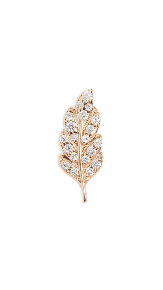Sydney Evan Single Feather Stud Earring in gold / yellow